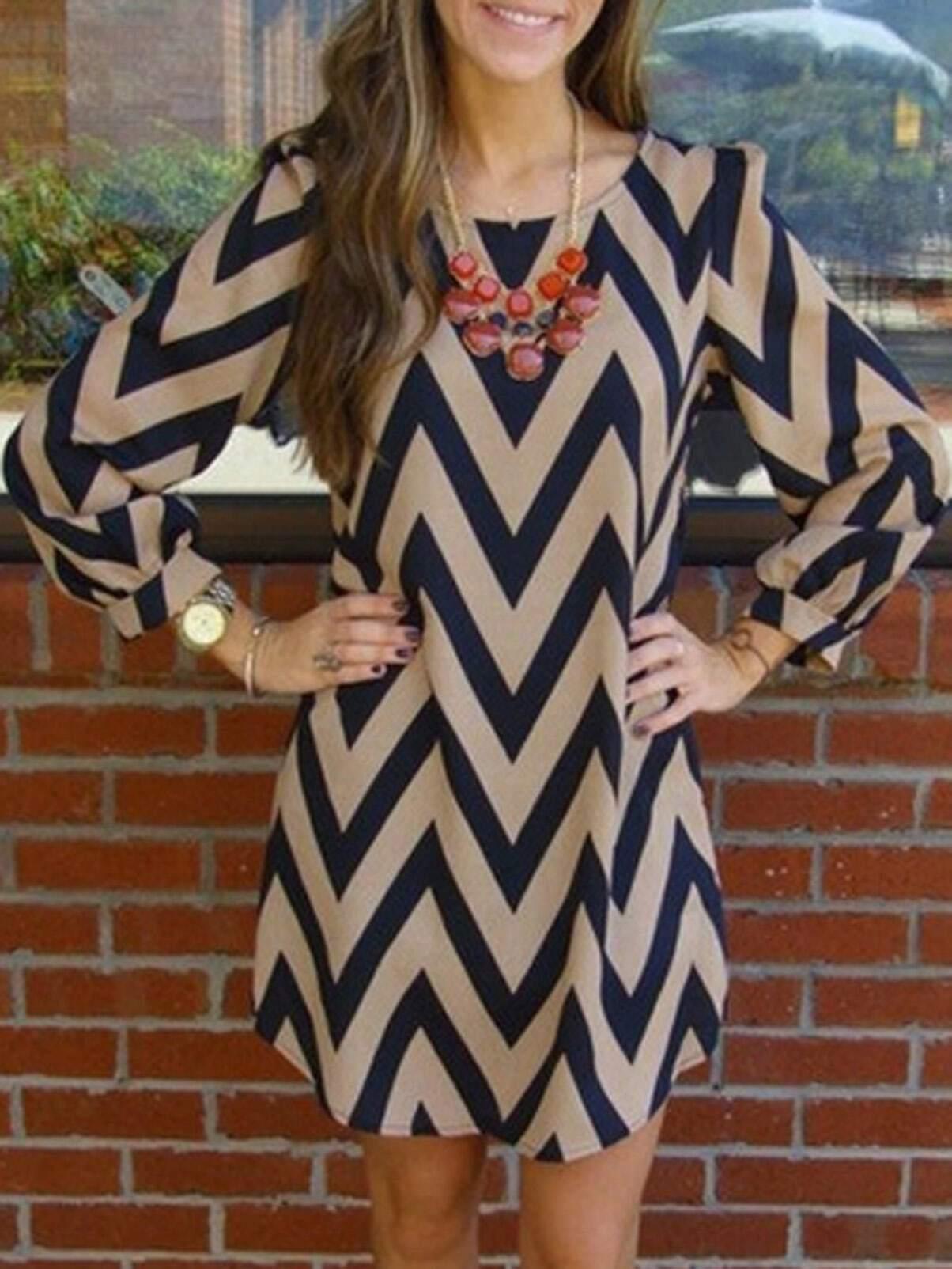 cd449496076c7e Apricot Black Long Sleeve Geometric Print Dress EmmaCloth-Women Fast ...