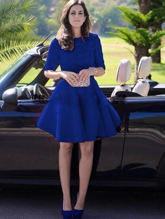 kleid kurz arm mit spitze blau emmacloth women fast. Black Bedroom Furniture Sets. Home Design Ideas