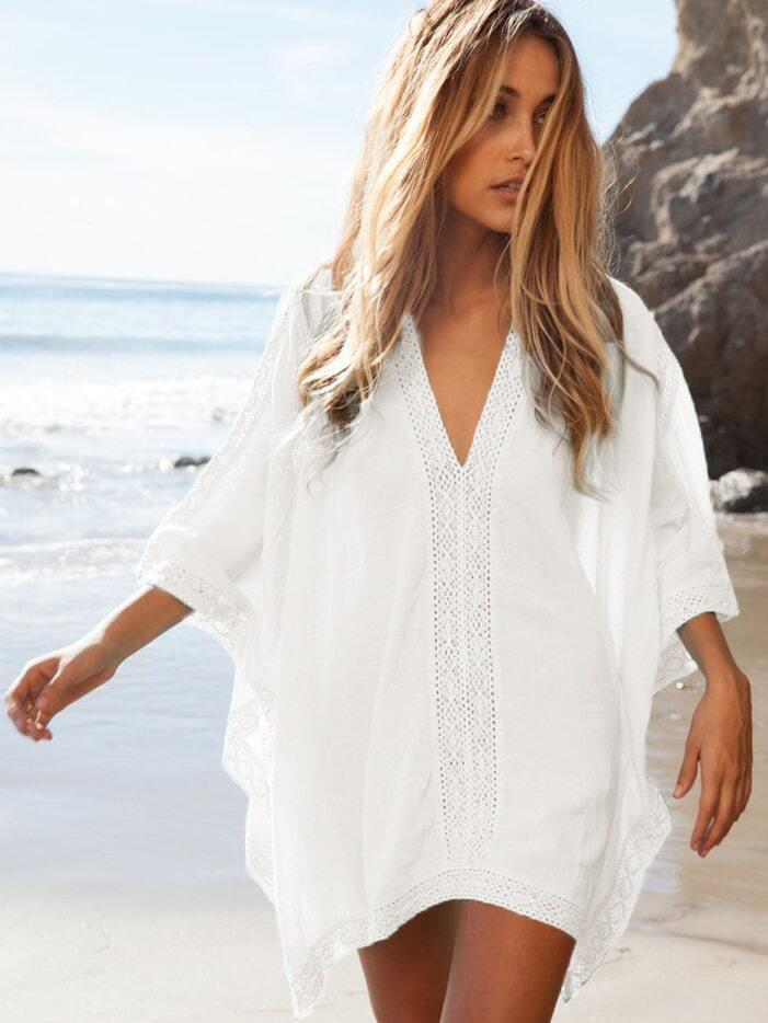 34f010c96a White Deep V-neck Lace Insert Beach Blouse EmmaCloth-Women Fast ...