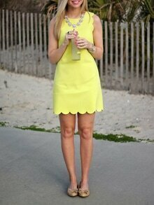Yellow Crew Neck Scalloped Hem Dress