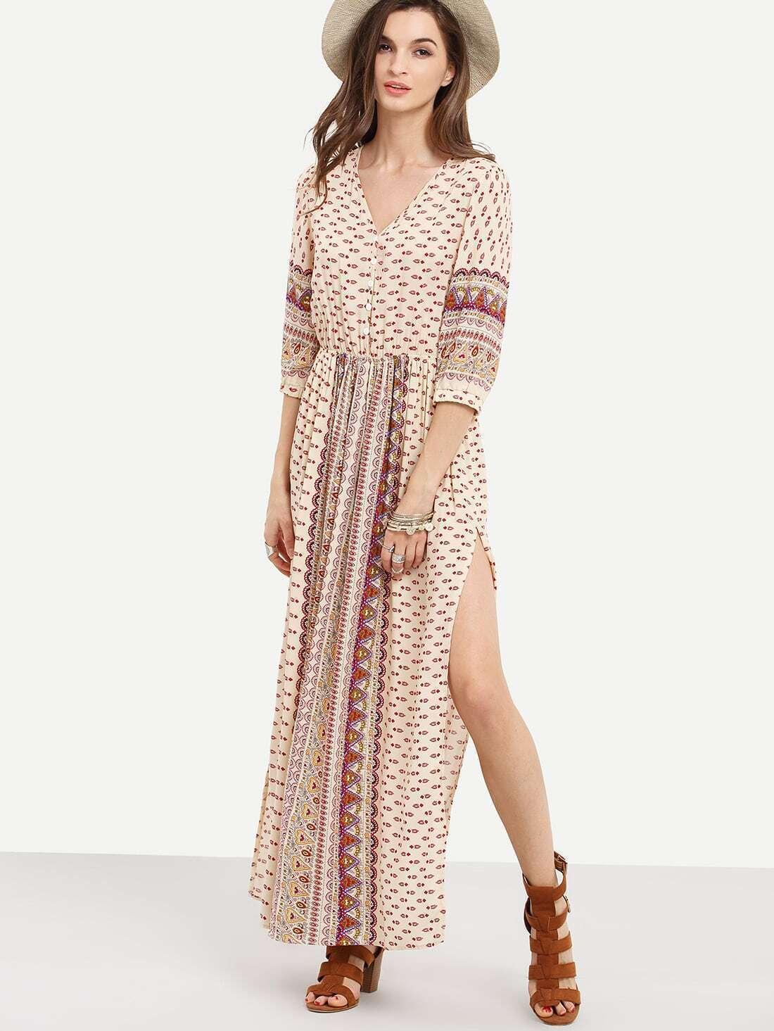 759b3fada789 Apricot Half Sleeve Vintage Print Split Maxi Dress EmmaCloth-Women ...