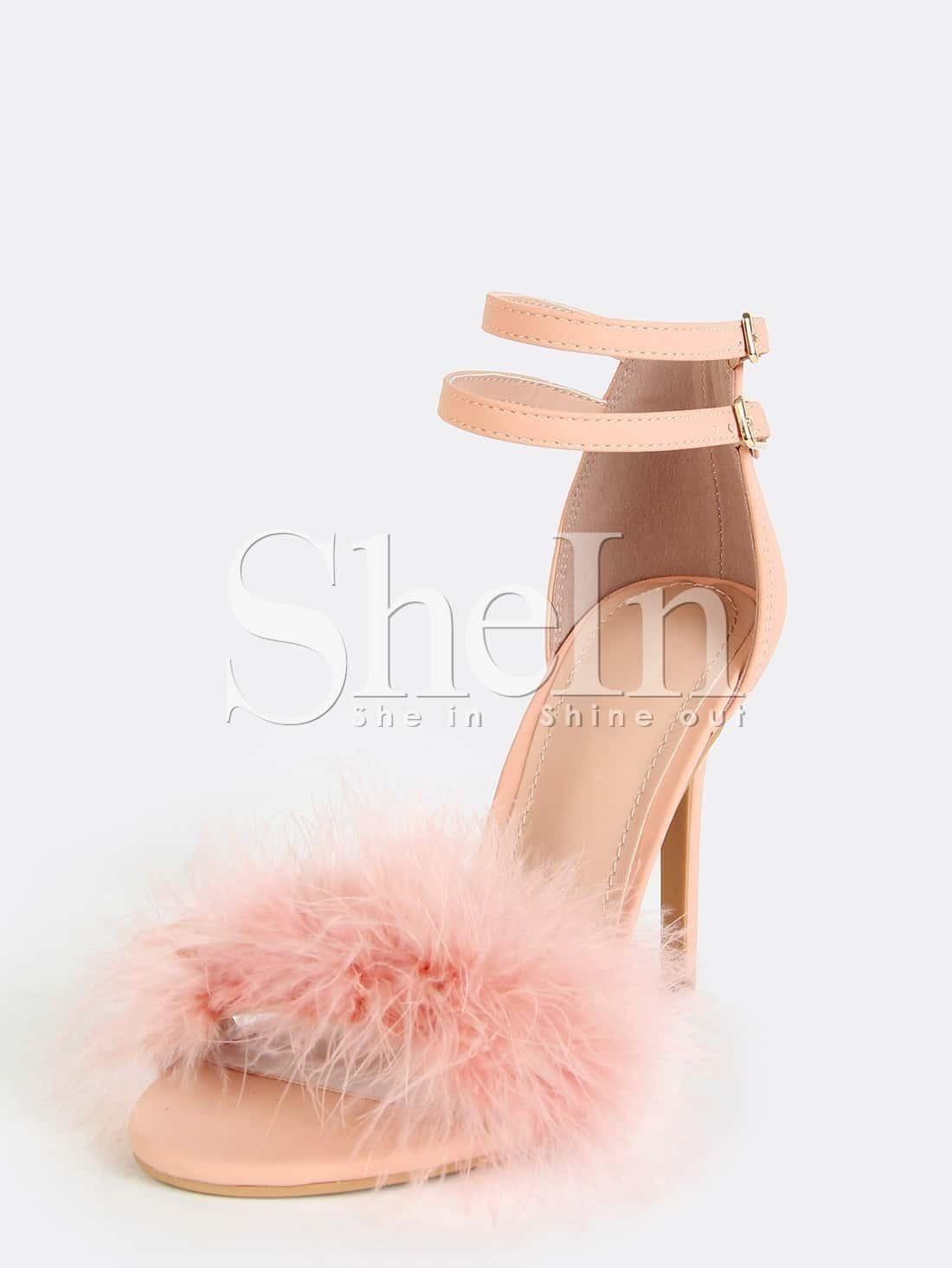 787b25e67c Single Sole Feather High Heels Pink EmmaCloth-Women Fast Fashion Online