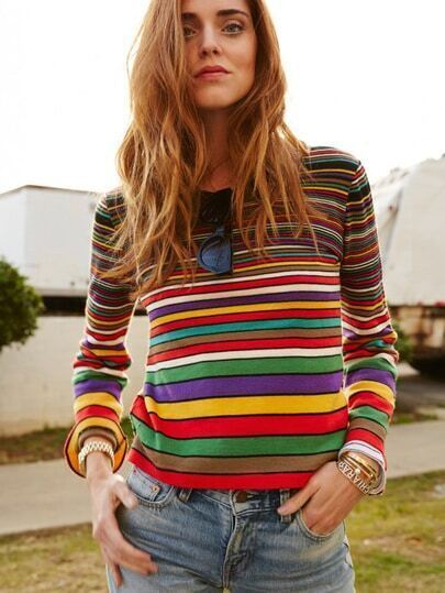 dfe22fb1a6a Multicolor Crew Neck Striped T-Shirt EmmaCloth-Women Fast Fashion Online