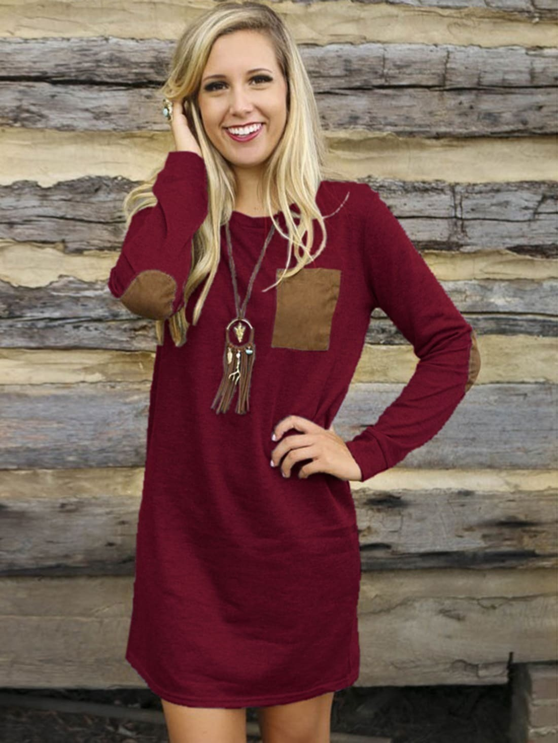 b184513396 Burgundy Long Sleeve Elbow Patch Dress EmmaCloth-Women Fast ...