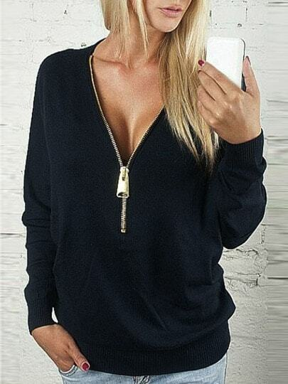 Black Zipper V Neck Plain Sweatshirt