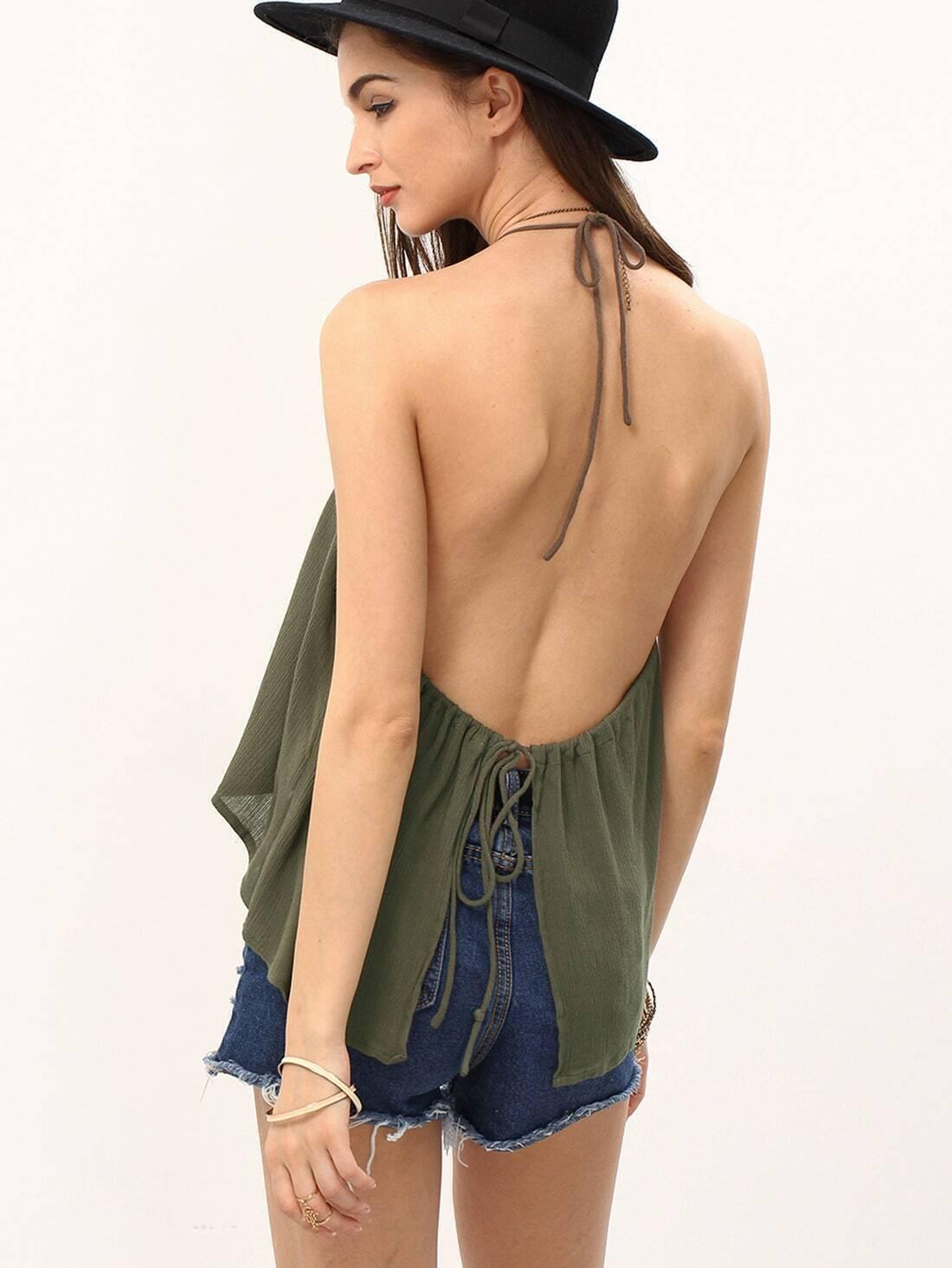 7c0e4ef7823f30 Army Green Halter Neck Tube Crop Top EmmaCloth-Women Fast Fashion Online