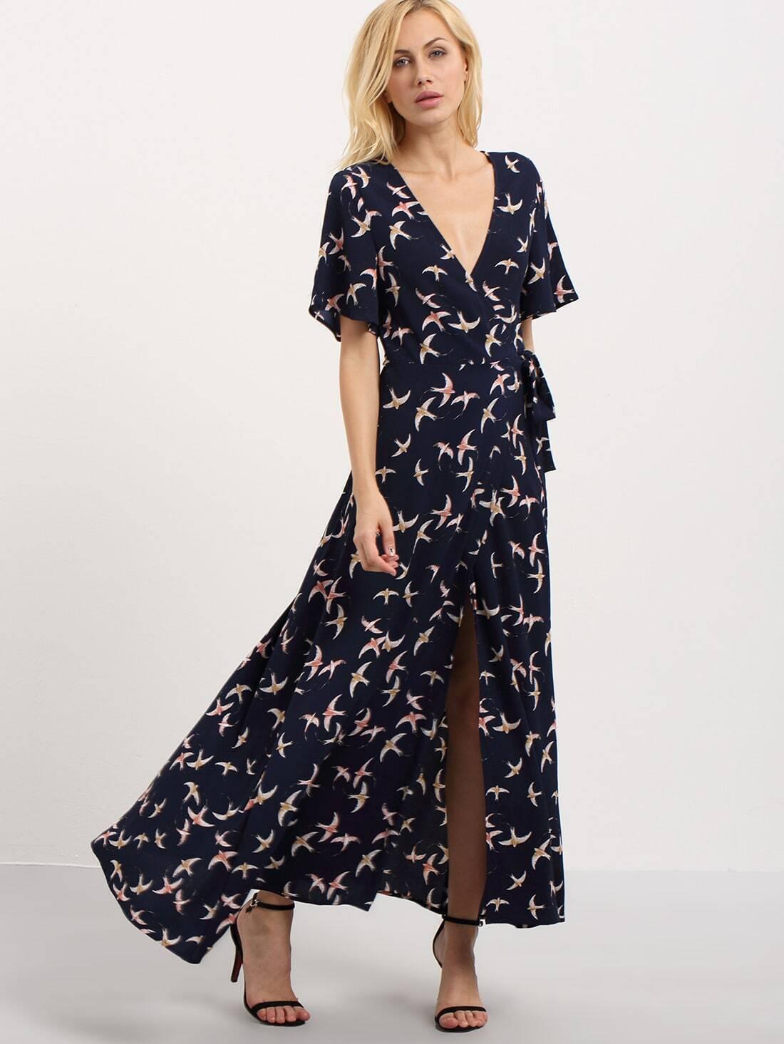 e5eed0714d Multicolor V Neck Birds Print Split Maxi Dress EmmaCloth-Women Fast Fashion  Online