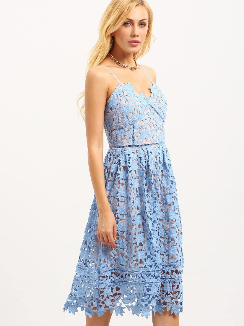 a386f5efb1 Hollow Out Fit & Flare Lace Cami Dress - Blue EmmaCloth-Women Fast ...