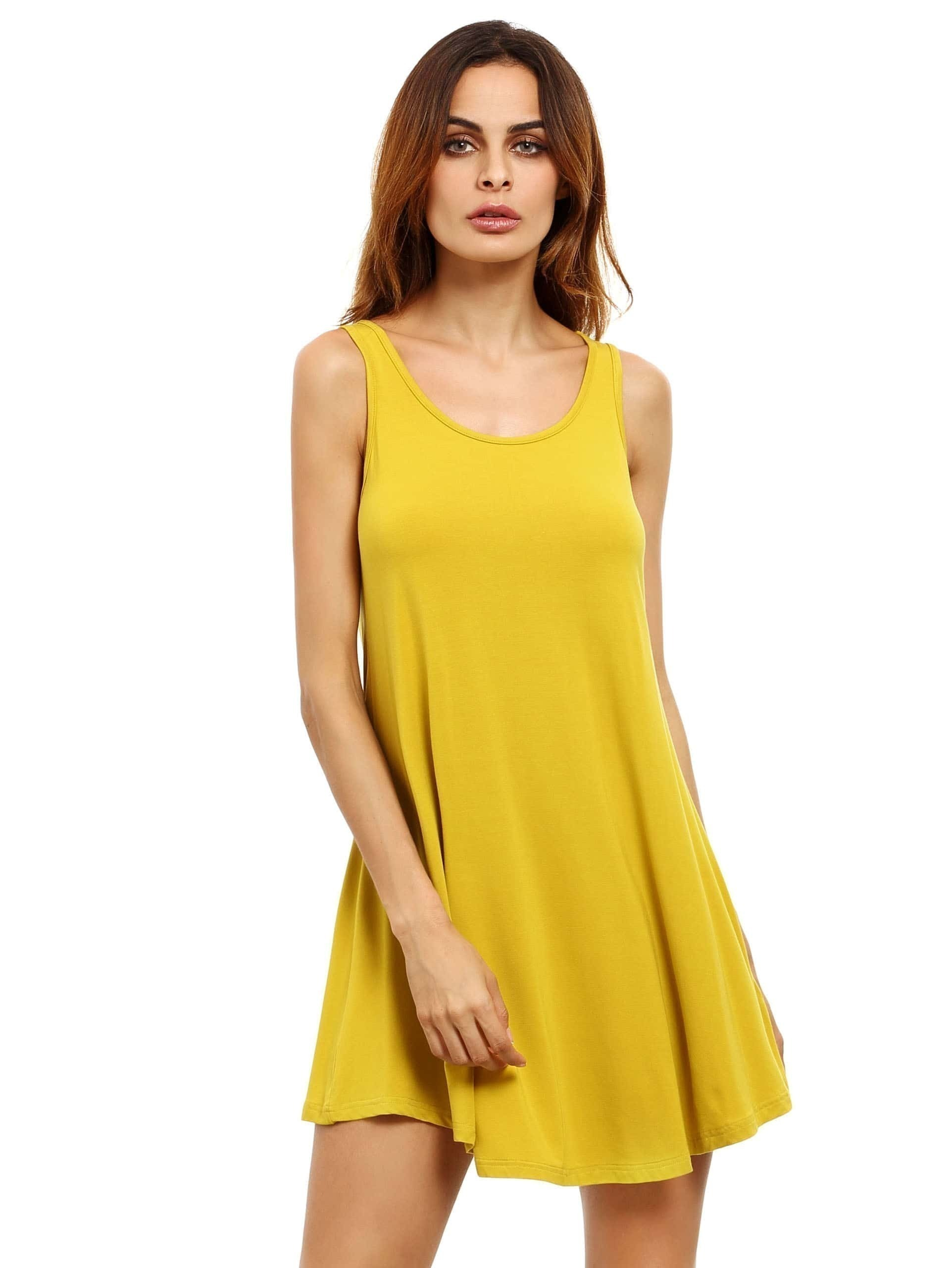 8c521c70c75 Yellow Swing Tank Dress EmmaCloth-Women Fast Fashion Online
