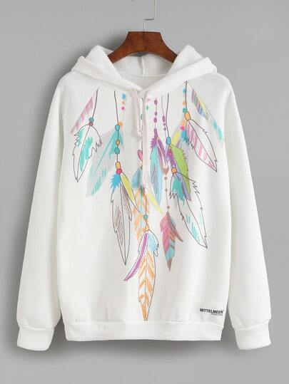 White Feather Print Hooded Sweatshirt