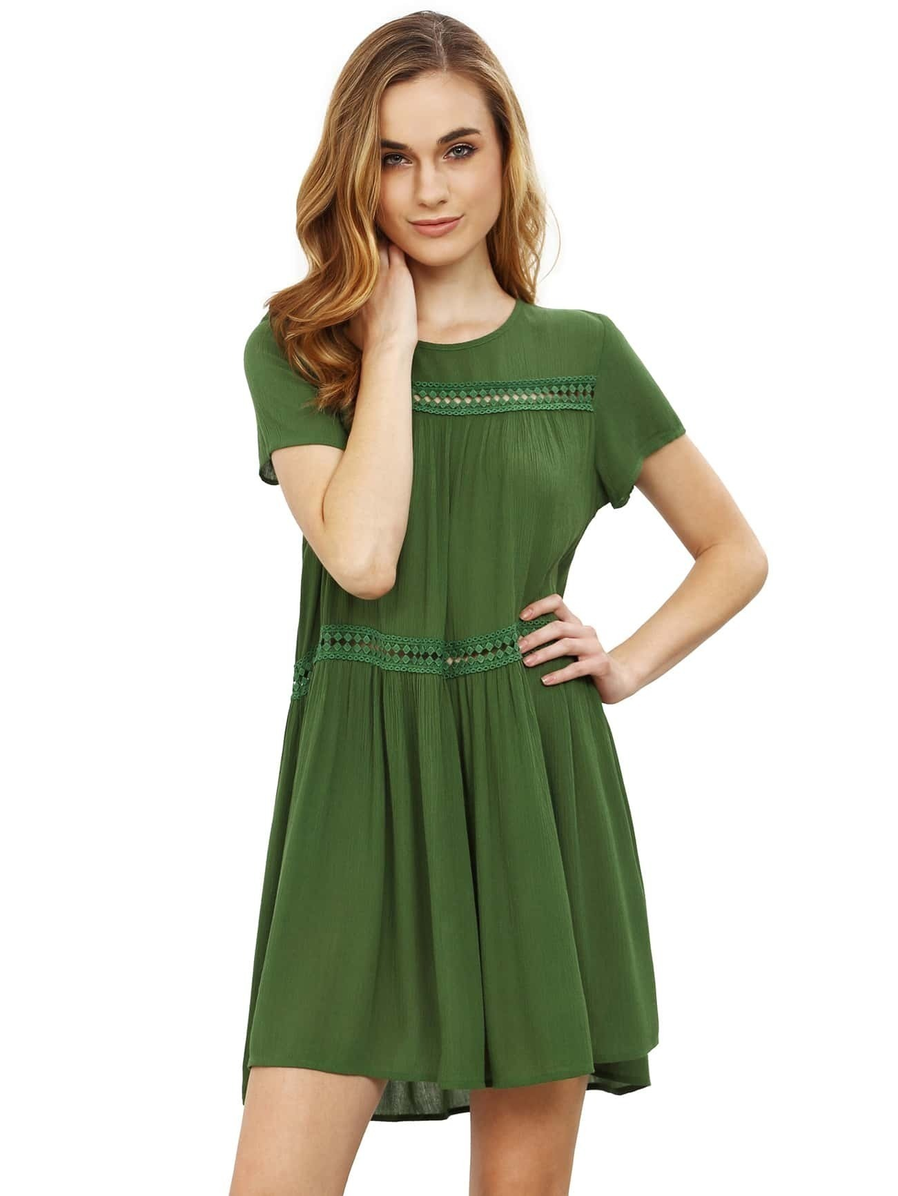 cfeb4119e0a1ef Army Green Short Sleeve Shift Dress EmmaCloth-Women Fast Fashion Online