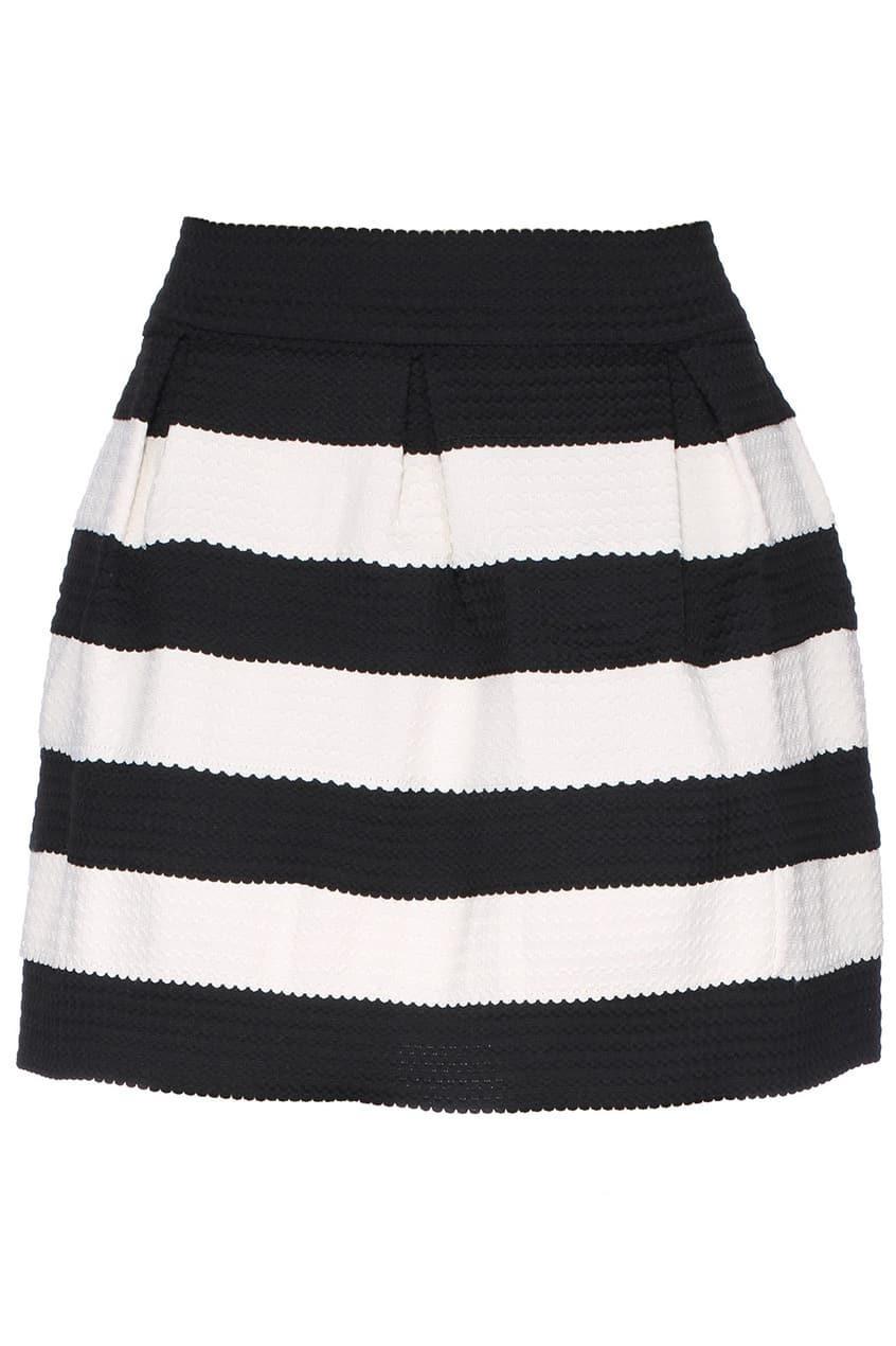 bd8d842fb4 Black Apricot Stripe Flare Zip Skirt EmmaCloth-Women Fast Fashion Online