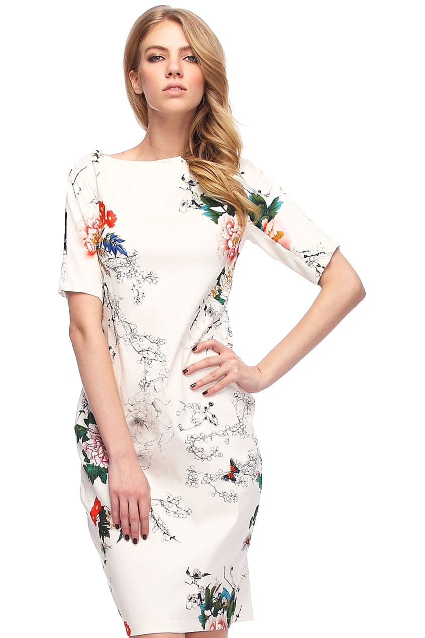 White Short Sleeve Floral Butterfly Print Dress Emmacloth Women Fast