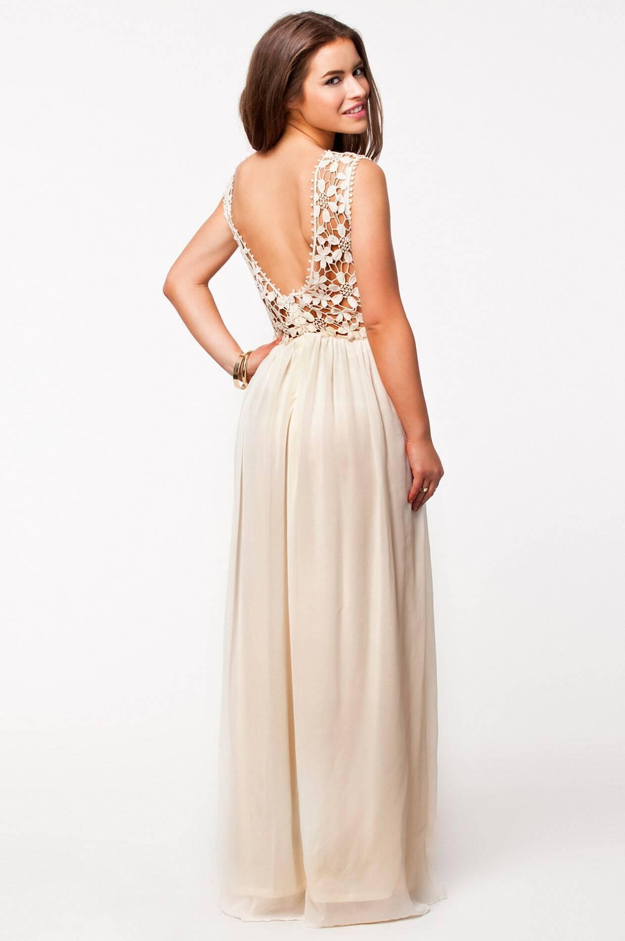 cd0ae65351c9bf Apricot Sleeveless Floral Crochet Lace Ball Maxi Dress EmmaCloth ...