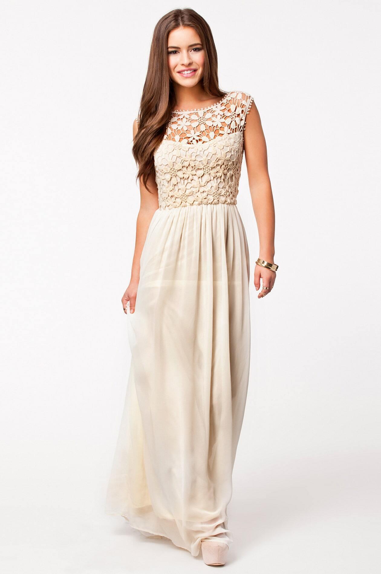 b2e4d988547597 Apricot Sleeveless Floral Crochet Lace Ball Maxi Dress EmmaCloth-Women Fast  Fashion Online