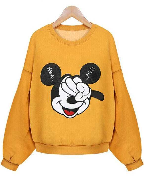 6876f32ec44 Yellow Long Sleeve Mickey Mouse Print Crop Sweatshirt EmmaCloth ...