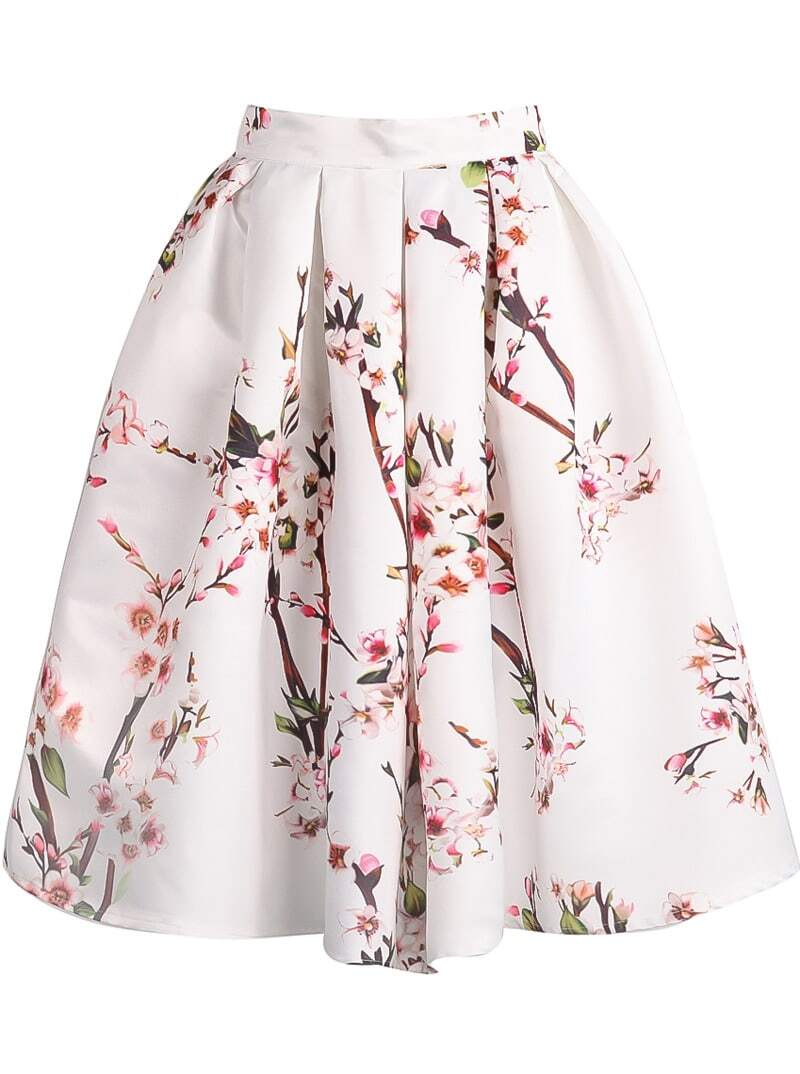 White Floral Pleated Skirt EmmaCloth-Women Fast Fashion Online