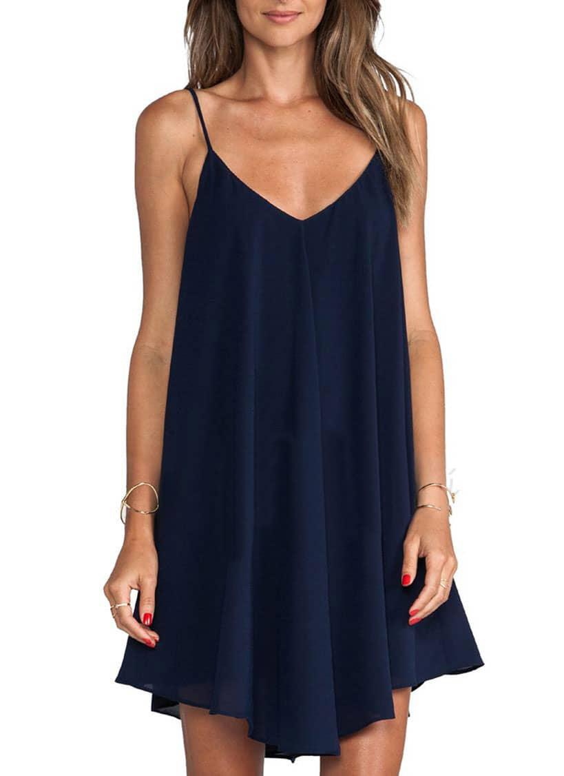31770b37399b1 Spaghetti Strap Asymmetrical Shift Dress Sundresses EmmaCloth-Women ...