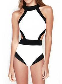White Halter Contrast Trims Hollow Swimwear