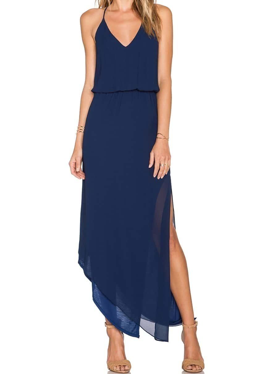 57c3d73bfea1e Navy Spaghetti Strap Asymmetrical Split Dress EmmaCloth-Women Fast ...