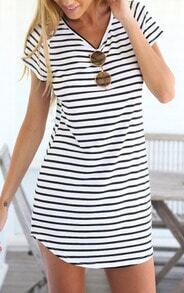 Black White V Neck Striped Slim Dress