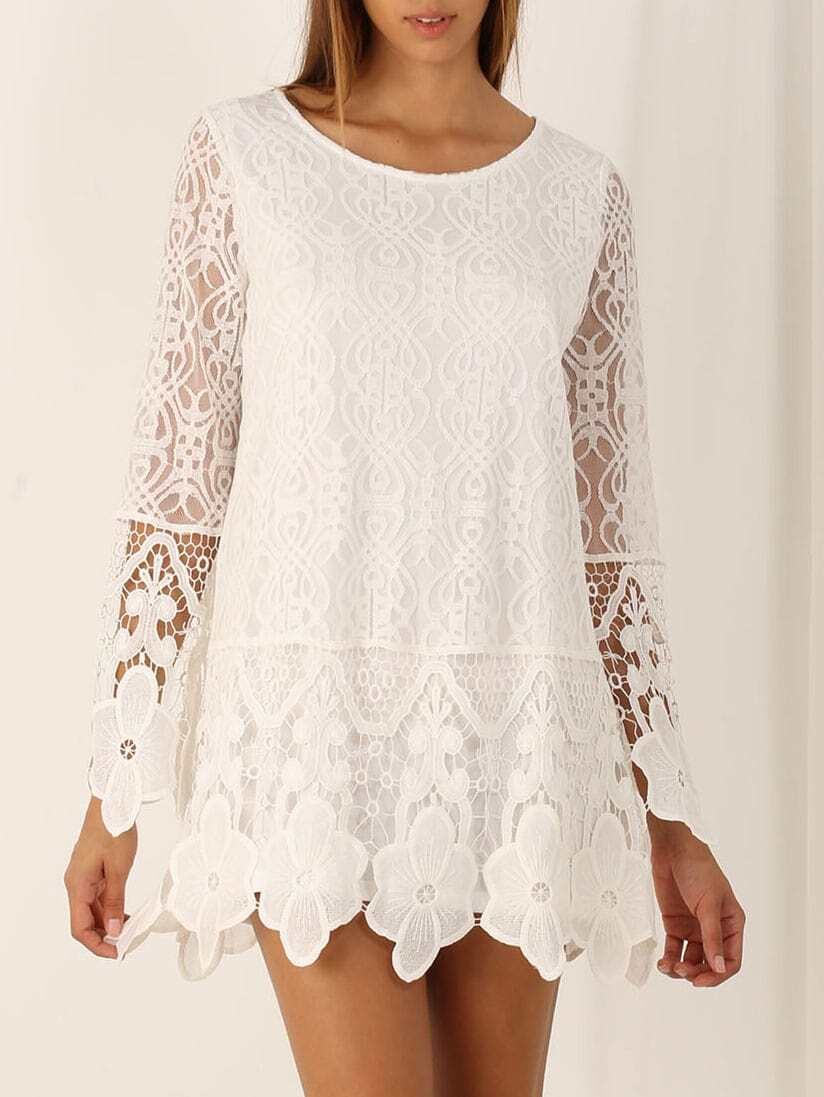 White Long Sleeve Crochet Lace Dress EmmaCloth-Women Fast Fashion Online 81363b64af