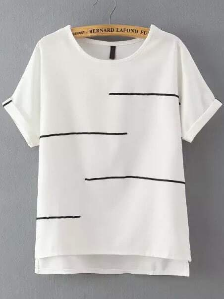 e2cdd7ba7f4 White Short Sleeve Striped Dip Hem T-Shirt EmmaCloth-Women Fast Fashion  Online