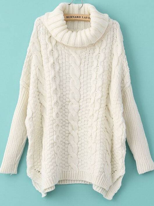 afe71b69b3c White Long Sleeve Turtleneck Chunky Cable Knit Sweater EmmaCloth ...