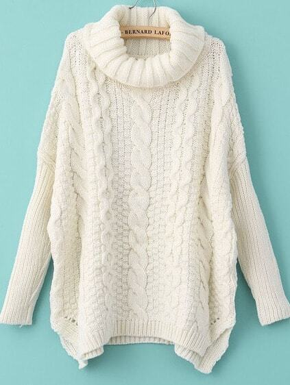 White Long Sleeve Turtleneck Chunky Cable Knit Sweater