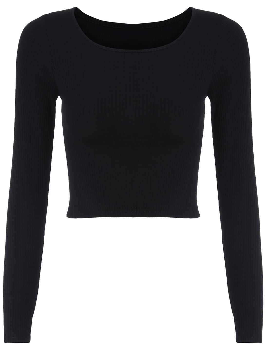 9b6c3edc19ee4 Long Sleeve Crop Black T-shirt EmmaCloth-Women Fast Fashion Online