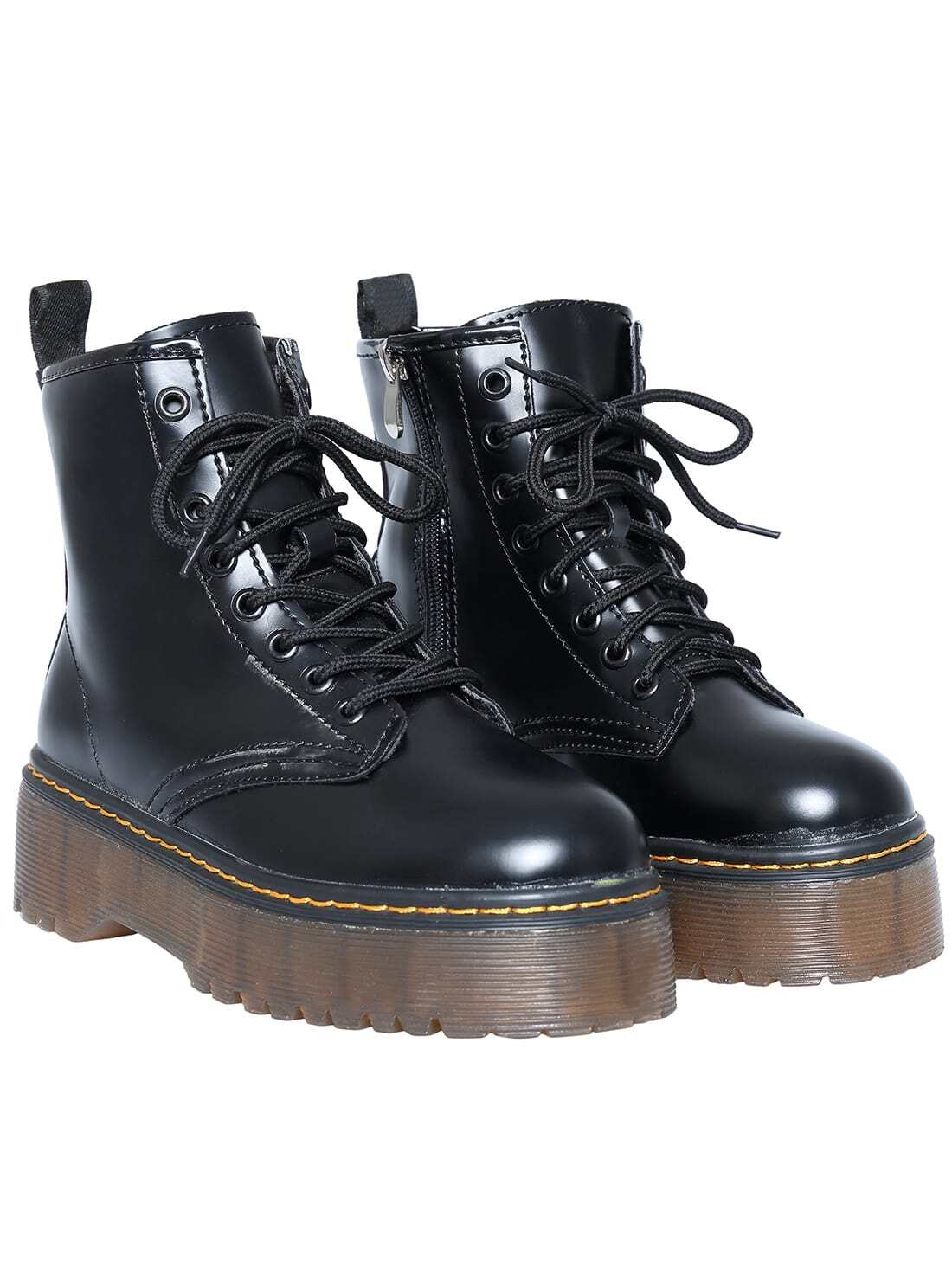 b5ed997fdce Black Casual Thick-soled PU Boots EmmaCloth-Women Fast Fashion Online
