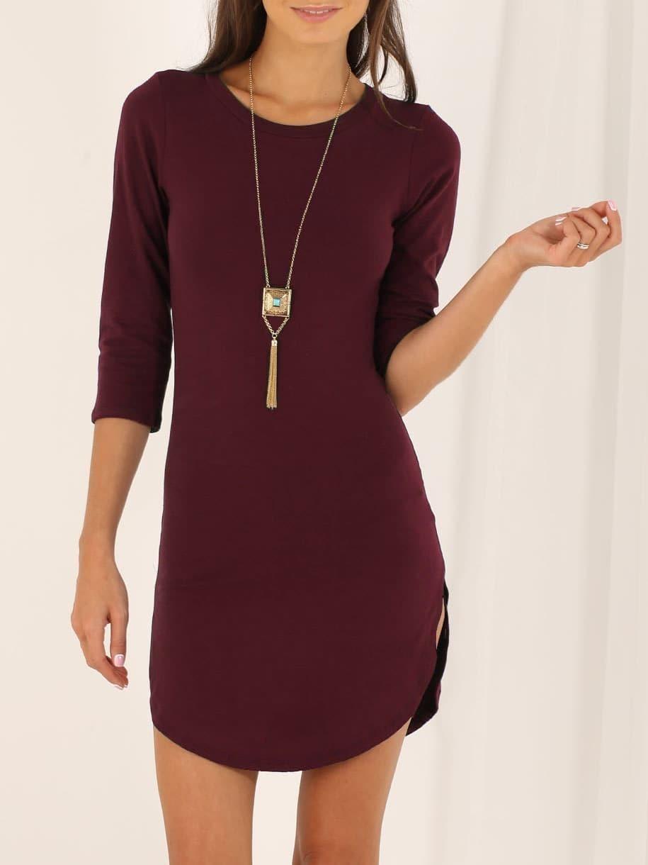 Outfit vestido vino casual