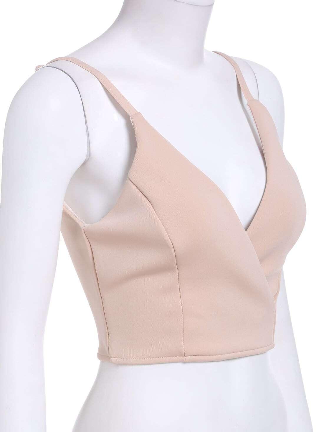 a4387455c012e Khaki Slip V Neck Cami Top EmmaCloth-Women Fast Fashion Online