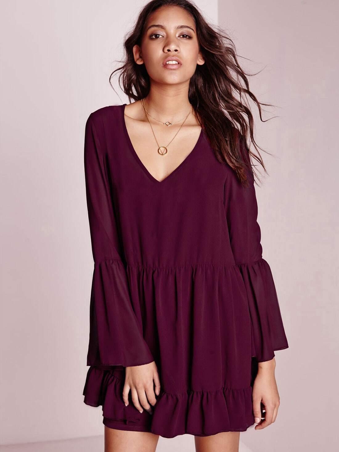 2b3549e917 Burgundy Long Sleeve Ruffle Dress EmmaCloth-Women Fast Fashion Online