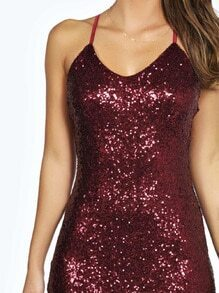 Burgundy Spaghetti strap Sequined Dress EmmaCloth-Women Fast Fashion ... b341e00a6