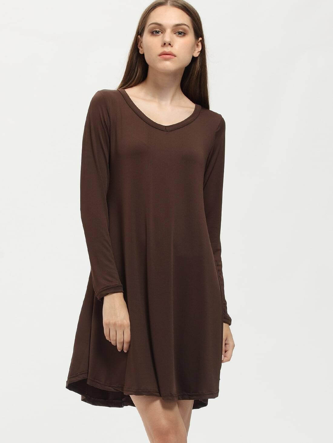 e21104211b Brown V-Neck Long Sleeve Tshirt Dress EmmaCloth-Women Fast Fashion ...