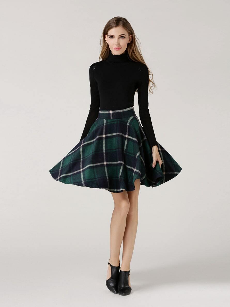 35c0f05e3 Green High Waist Checkered Skirt EmmaCloth-Women Fast Fashion Online