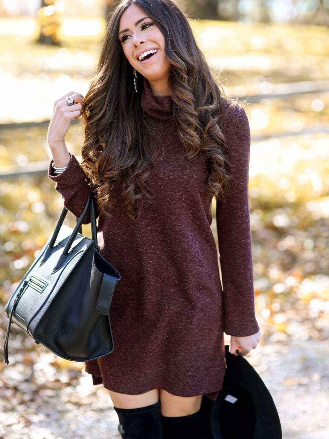75189ee10b Burgundy Turtleneck T-shirt Dress EmmaCloth-Women Fast Fashion Online