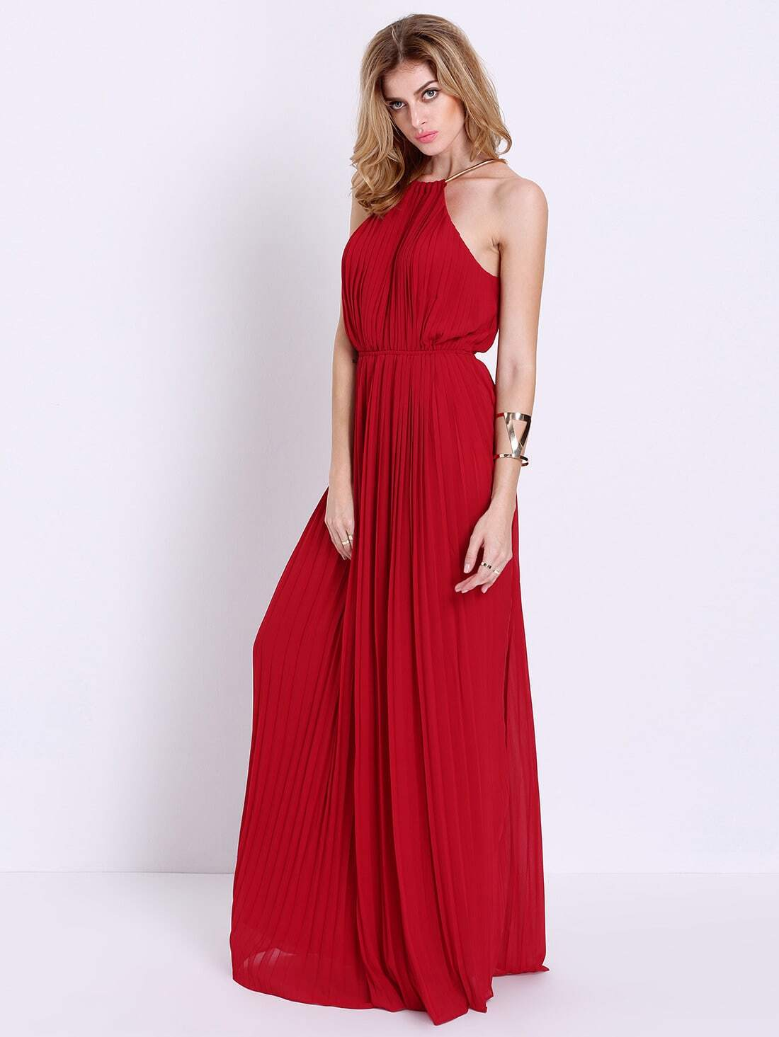 fede49066c9 Wine Red Evening Sleeveless Halterneck Pleated Infinity Maxi Dress pictures