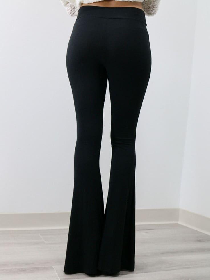 pantalon patte d 39 l phant taille lastique noir emmacloth women fast fashion online. Black Bedroom Furniture Sets. Home Design Ideas