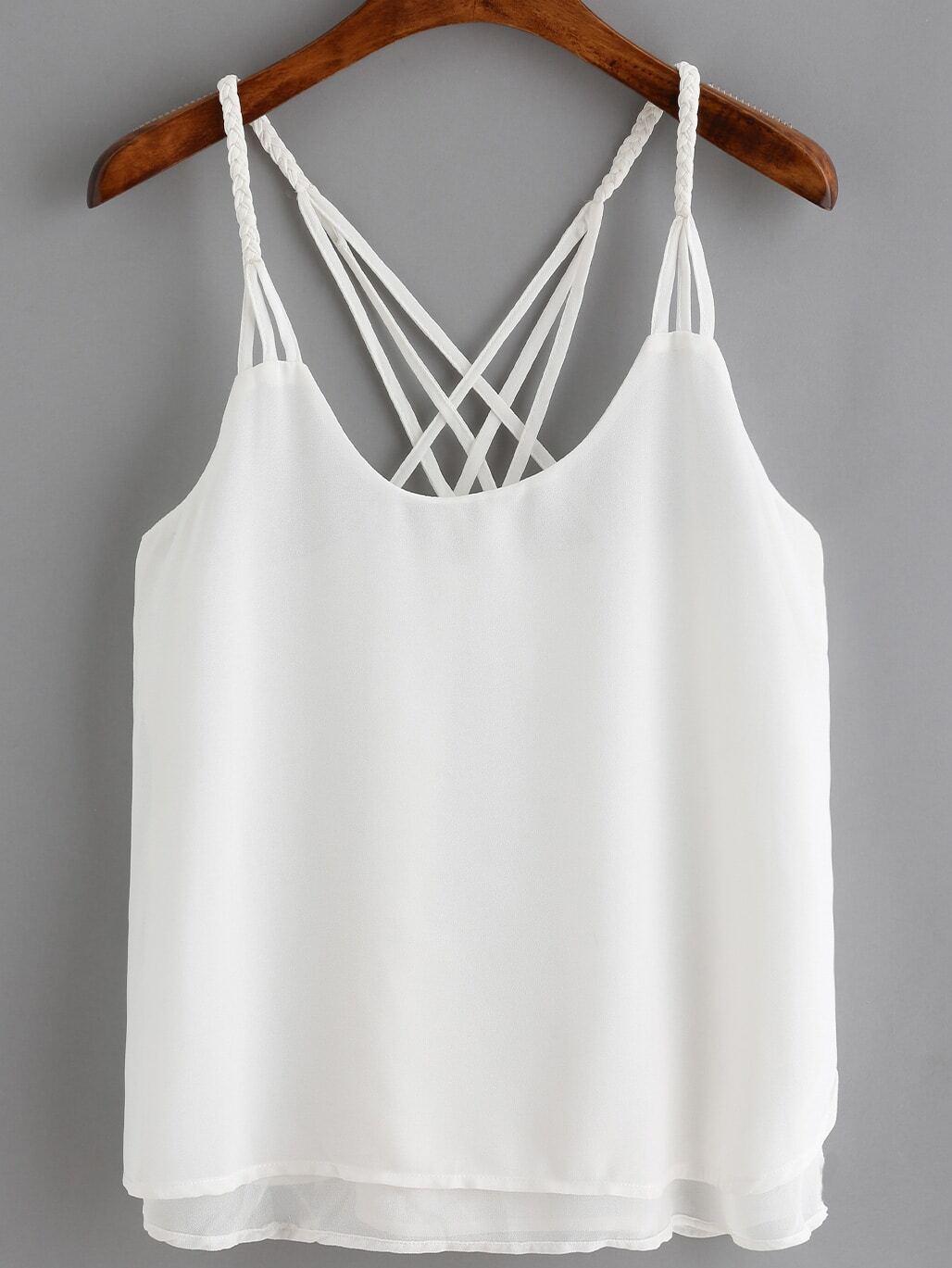 777bb46eaabd3a White Spaghetti Strap Loose Cami Top EmmaCloth-Women Fast Fashion Online