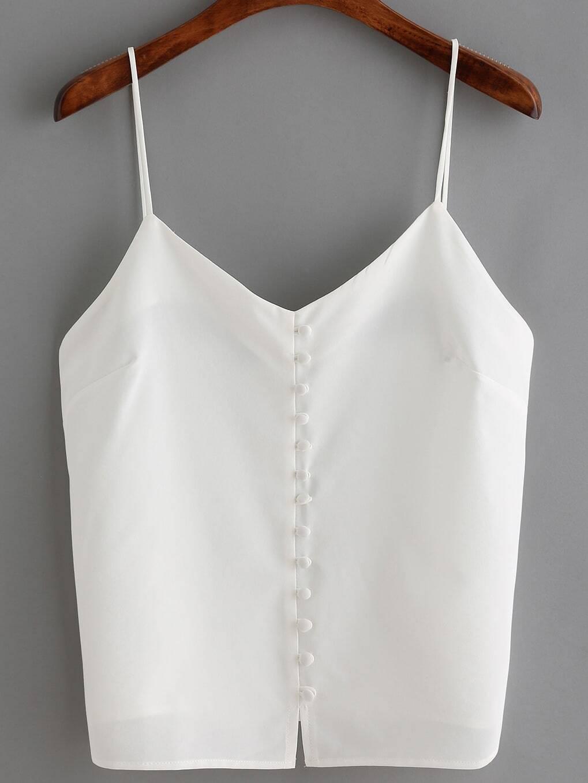 9396474dea7 White Spaghetti Strap Buttons Cami Top EmmaCloth-Women Fast Fashion ...