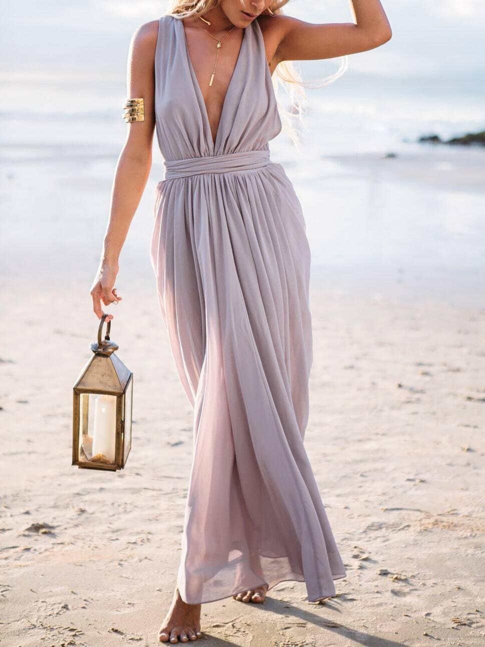 ae6c8042f73f Light Purple Deep V Neck Maxi Dress EmmaCloth-Women Fast Fashion Online