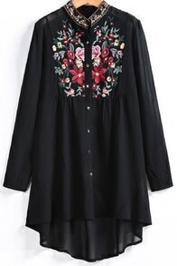 Black Long Sleeve Embroidered Dipped Hem Blouse