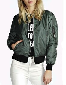 Green Stand Collar Zipper Crop Jacket