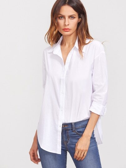 White Lapel Long Sleeve Buttons Blouse