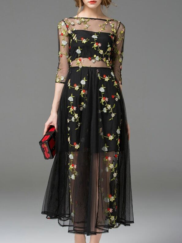 Black Sheer Gauze Embroidered Midi Dress Emmacloth Women
