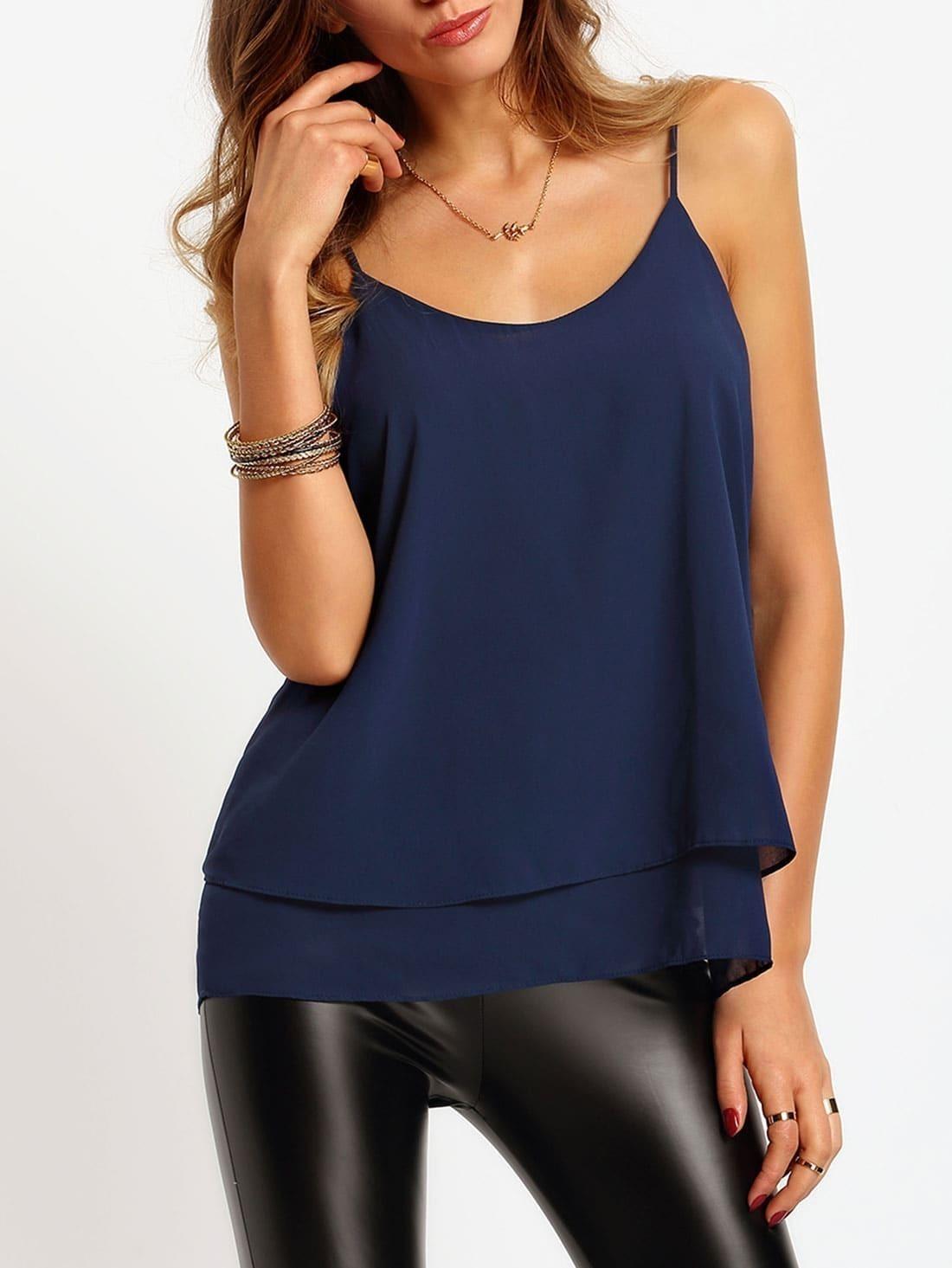 599c9a8169986 Navy Spaghetti Strap Chiffon Cami Top EmmaCloth-Women Fast Fashion ...