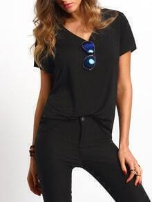 Black V Neck Short Sleeve Casual T-shirt