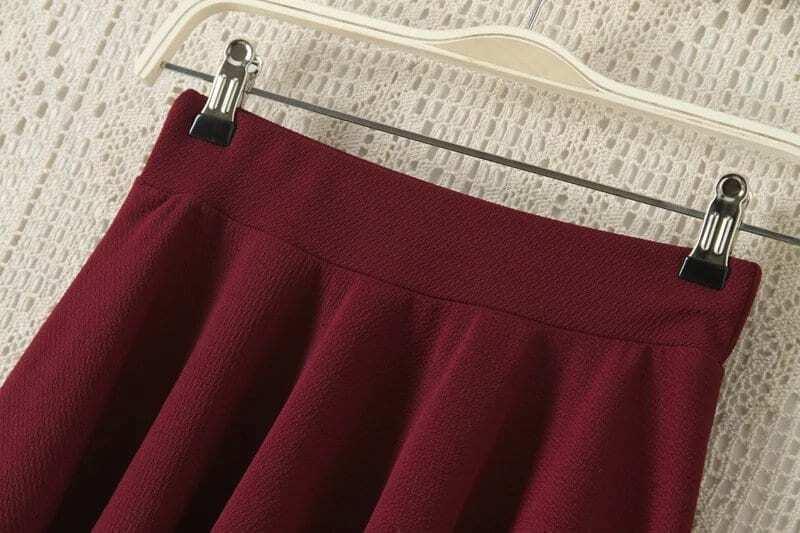 Elastic Waist A-Line Burgundy Skirt EmmaCloth-Women Fast Fashion ...